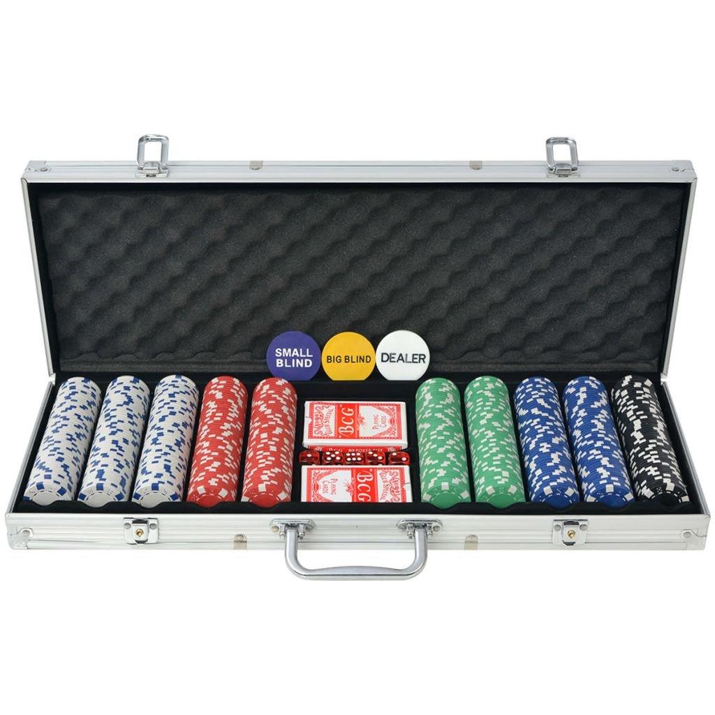 vidaXL Set per Gioco da Carte Poker con 500/1000 Chips Fiches Valigetta in Alluminio