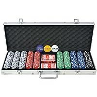 Festnigh Set da Poker con 500 Chips Alluminio Valigetta per fiches