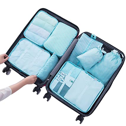 d68cc1a167c3 Belsmi 8 Set Packing Cubes - Waterproof Mesh Compression Travel Luggage  Packing Organizer With Shoes Bag (Blue Stripe)