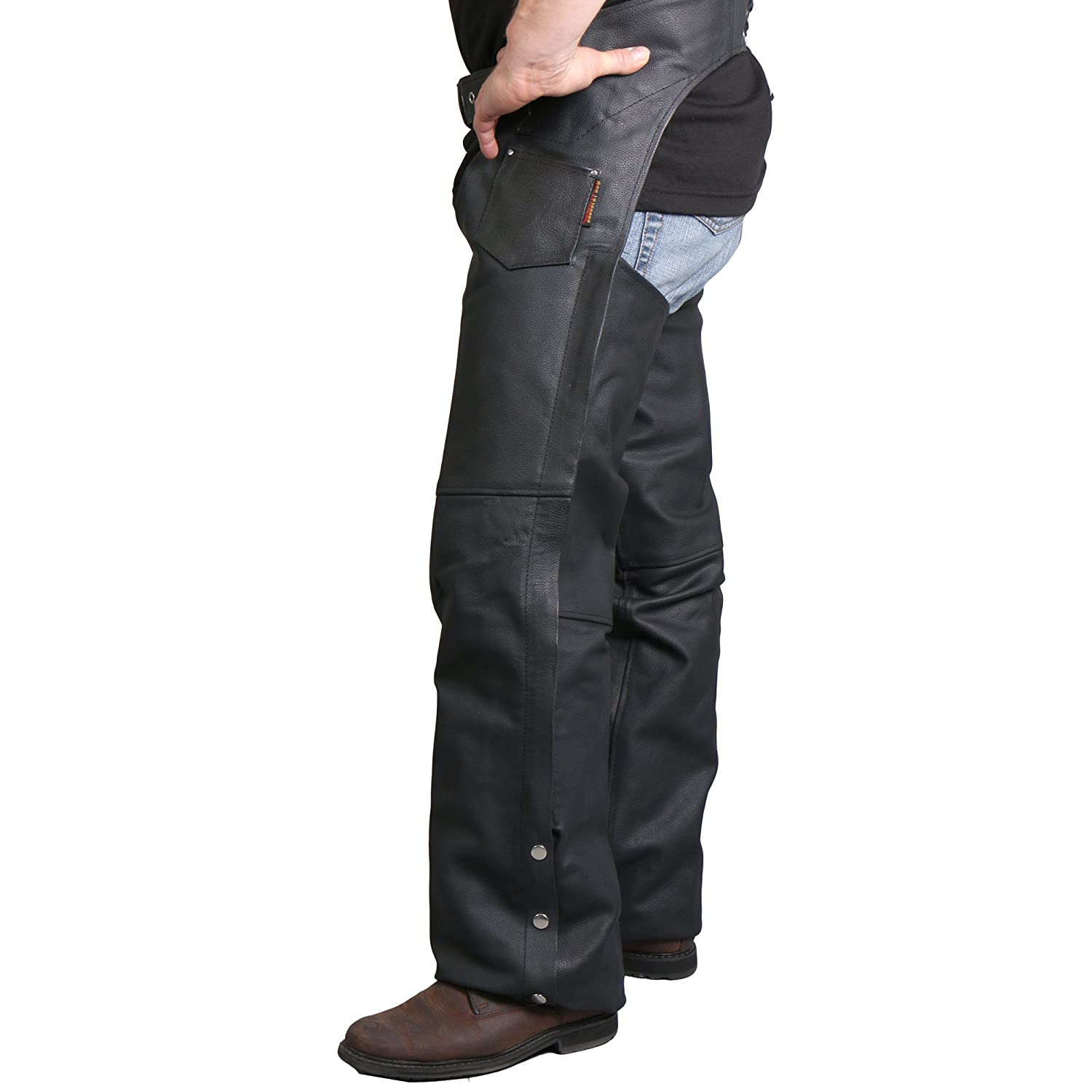 Black, Medium Hot Leathers Fully Lined Leather Chaps