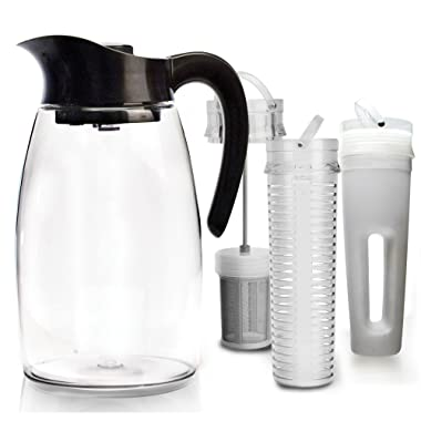 Primula Flavor-It Beverage System – Includes Large Capacity Fruit Infuser Core, Tea Infuser Core, and Chill Core – Dishwasher Safe – 2.9 Qt. – Black (PFBK-3725)