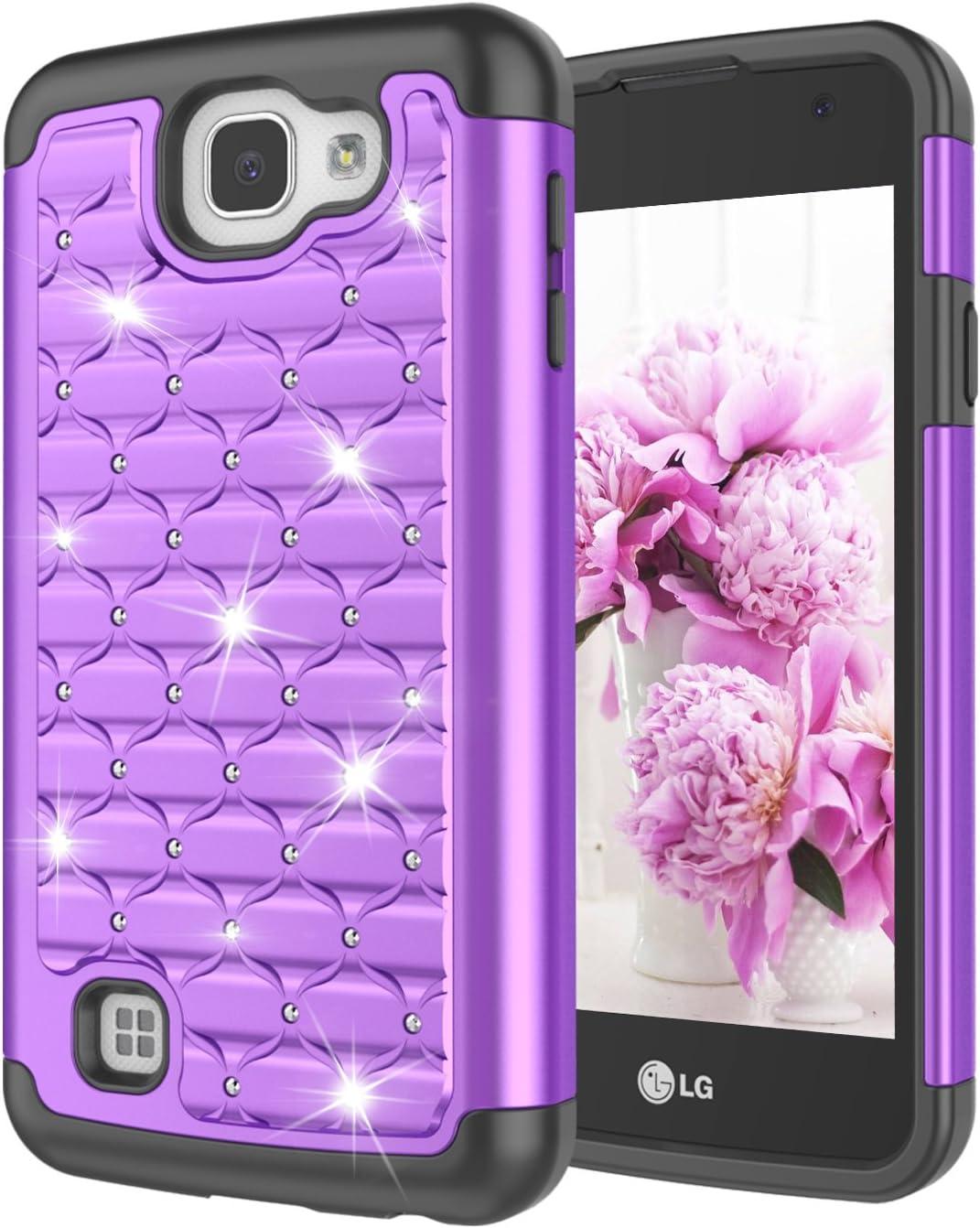 LG Rebel LTE Case, LG K4 Case, LG Optimus Zone 3/Spree Case, Jeylly [Diamond Star] Hybrid Rubber Plastic Shock Absorbing Studded Rhinestone Crystal Bling Armor Defender Rugged Case Cover - Purple