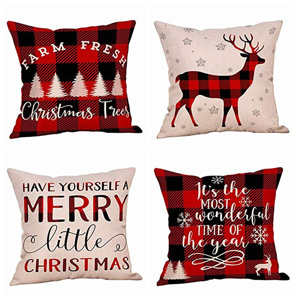 Clearance! Christmas Pillowcases, Christmas Deer Linen Cushion Cover Pillow Case Sofa Bed Home Decoration Festival Pillow Case Cushion Cover (4 pcs H)