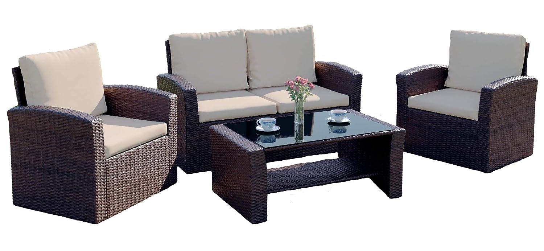 Abreo brown rattan garden furniture sofa set wicker weave 4 seater patio conservatory luxury amazon co uk garden outdoors