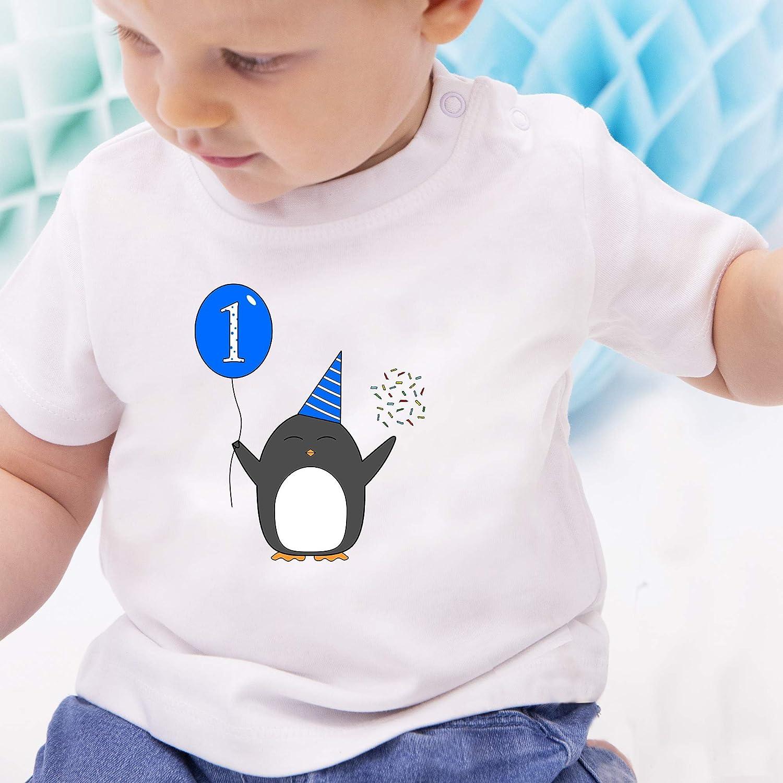 ShirtYouWant Konfetti Pinguin Ballon Geburtstag Geschenk f/ür Babys 2.Geburtstag - Baby Jungen M/ädchen T-Shirt Babies Baby Blau