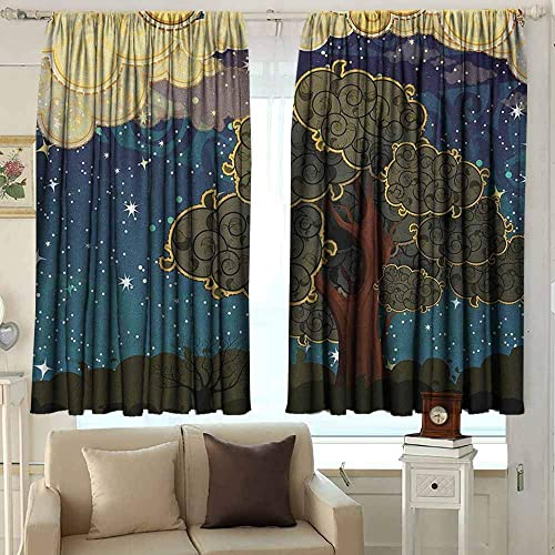 AFGG Customized Curtains Nature Funk Art Stylized Vibrant Starry Night Sky with Puffy Clouds and Tree Illustration Print Darkening Thermal Insulated Blackout 72 W x 63 L Inches Multi