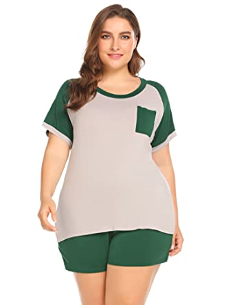 45ca5d28e8 Image Unavailable. Image not available for. Color  Plus Size Women Short  Sleeve T Shirt and Shorts Pajamas Sleepwear Set Loungewear