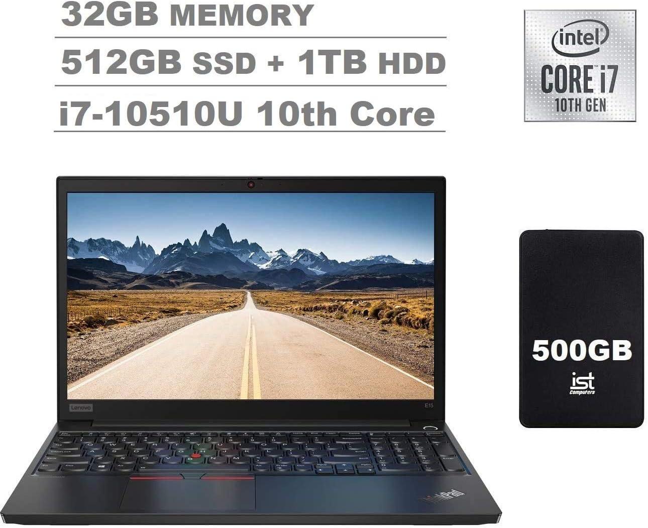 """2020 Lenovo ThinkPad E15 15.6"""" FHD Full HD (1920x1080) IPS Business Laptop (Intel 10th Quad Core i7-10510U, 32GB RAM, 512GB SSD+1TB HDD) Fingerprint, Type-C, HDMI, Windows 10 Pro+IST Computers 500GB"""