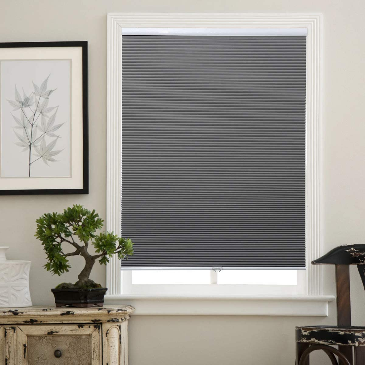 Matinss Cellular Shades Cordless Window Blinds Honeycomb Shades for Home and Windows Bedroom, Blackout Shades, Grey-White, 46×48