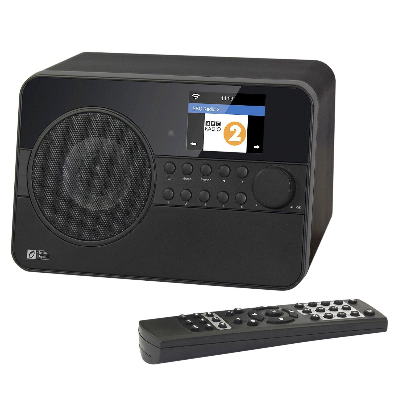 Ocean Digital Wifi Internet Radio WR238 Bluetooth Radio With Alarm Clock Sleeping Timer Stream Music Player-Black