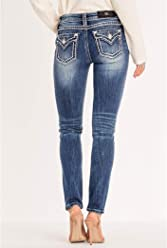Miss Me Womens Thick Whip Stitched Mid-Rise Skinny Jeans