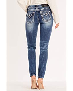 b910634b02a Amazon.com: Miss Me Women's Mid-Rise Stretch Ankle Skinny Jeans with ...