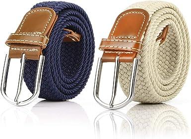 2 Piezas Cinturón Trenzado Elástico de Mujer Cinturones Hombre ...