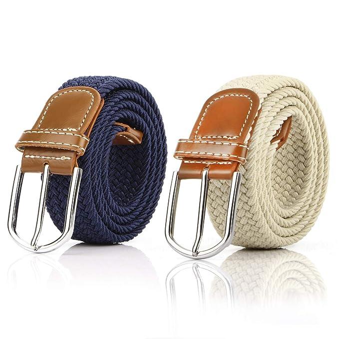 b2426342 2 Piezas Cinturón Trenzado Elástico de Mujer Cinturones Hombre Elásticos  Tejidos para Jeans Pantalones