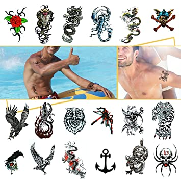 Amazon.com : Temporary Tattoos Body Stickers for Men Boys Guys Fake ...
