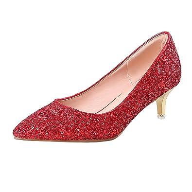 761096ebbb Coolulu Damen High Heels Stiletto Pumps 5cm Glitzer Slip on Schuhe(Rot,34)