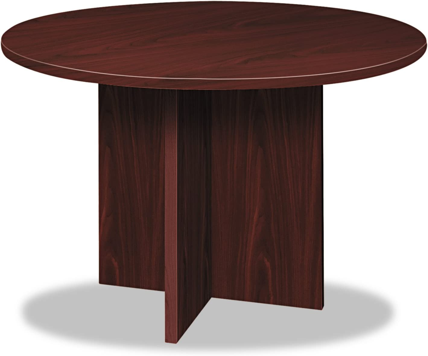 basyx BL Laminate Series Round Conference Table, 48 by 29.5-Inch, Mahogany
