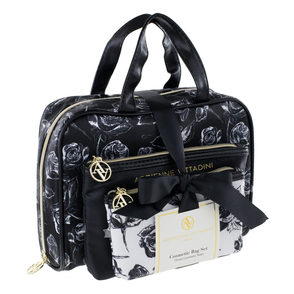 Adrienne Vittadini Cosmetic Bag Set 3 Travel Makeup Toiletry Bags with Zippered Closure – Large Satchel Medium Small Square Cases – Black and White Floral