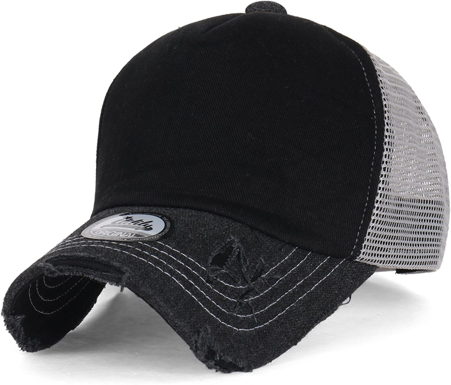Faux Leather Quilted Stitch Snapback Cap Hat Trucker Air Mesh BLACK New