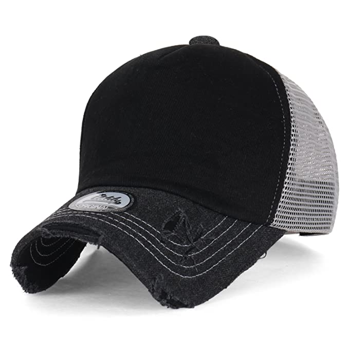 e11331ff209 ililily Black Vintage Distressed Mesh Snapback Blank Trucker Hat Baseball  Cap
