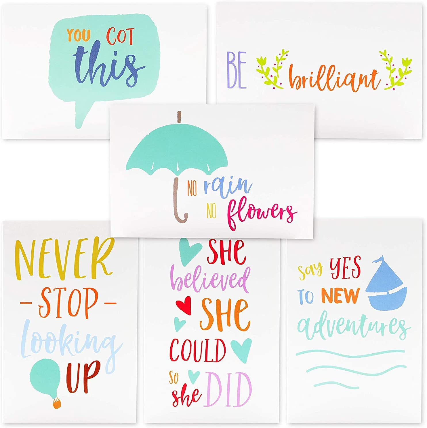 36 Pack Motivational//Inspirational Quote Greeting Cards Bulk Box Set Note Card