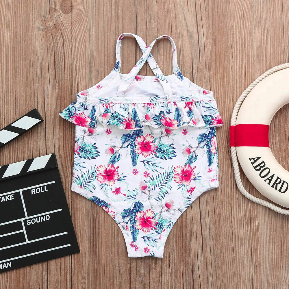 Waymine Infant Girl Floral Straps One-Piece Swimwear Swimsuit Bathing Clothes 12M-3T