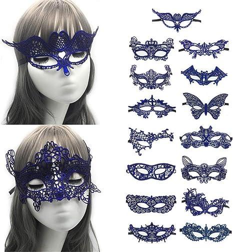 VJUKUBCUTE Pack De 15 Mujeres Sexy Azul Vintage Encaje Mascarada ...