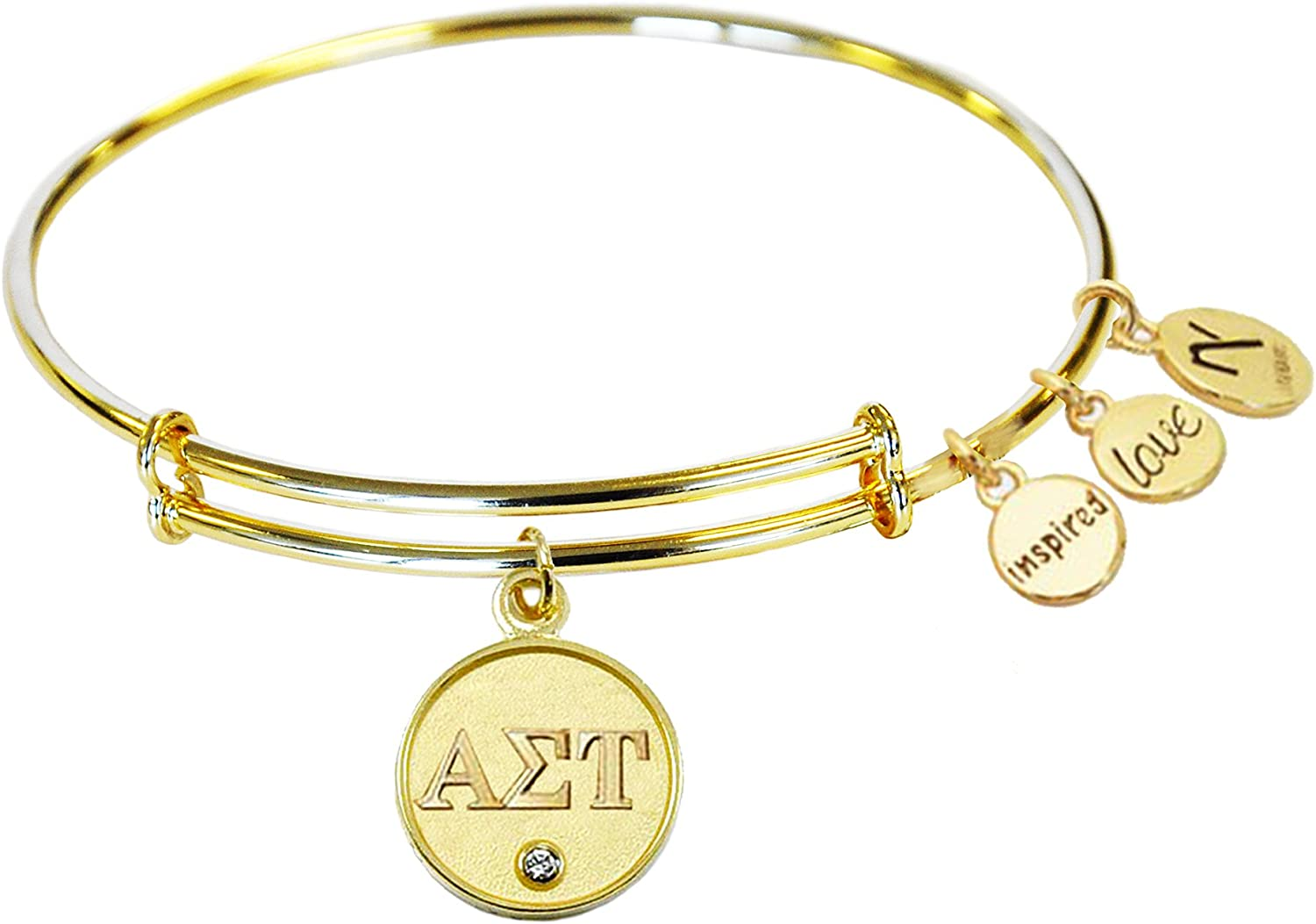 Gold Navika Alpha Sigma Tau Sorority Inspired Love Adjustable Bangle Bracelets