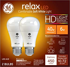 GE Lighting 36833 Light Bulb Relax HD Dimmable LED A19 5 (40-Watt Replacement), 450-Lumen Medium Base, 2-Pack, Soft White, 2