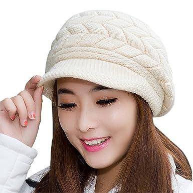 b5c832ebf650fa AINOW Women's Winter Warm Knit Woolen Hats Snow Ski Caps (Beige) at ...