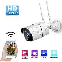 ANNA TOSANI Cámara de Seguridad Inalámbrica HD 1080P para Exterior / Interior Cámara de Vigilancia wifi IP Camara IP65 impermeable con detección de movimiento, visión nocturna por infrarrojos, audio bidireccional,Plug and play, control remoto por teléfono