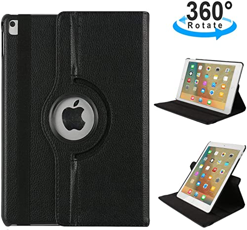 iPad Pro 10.5 Smart Cover, TechCode 360 Degree Rotating PU Leather Slim Fit Tablet Protector Smart Stand Feature Flip Folio Protective Case Sleeve for iPad Pro 10.5 Inch iPad Pro 10.5, Black