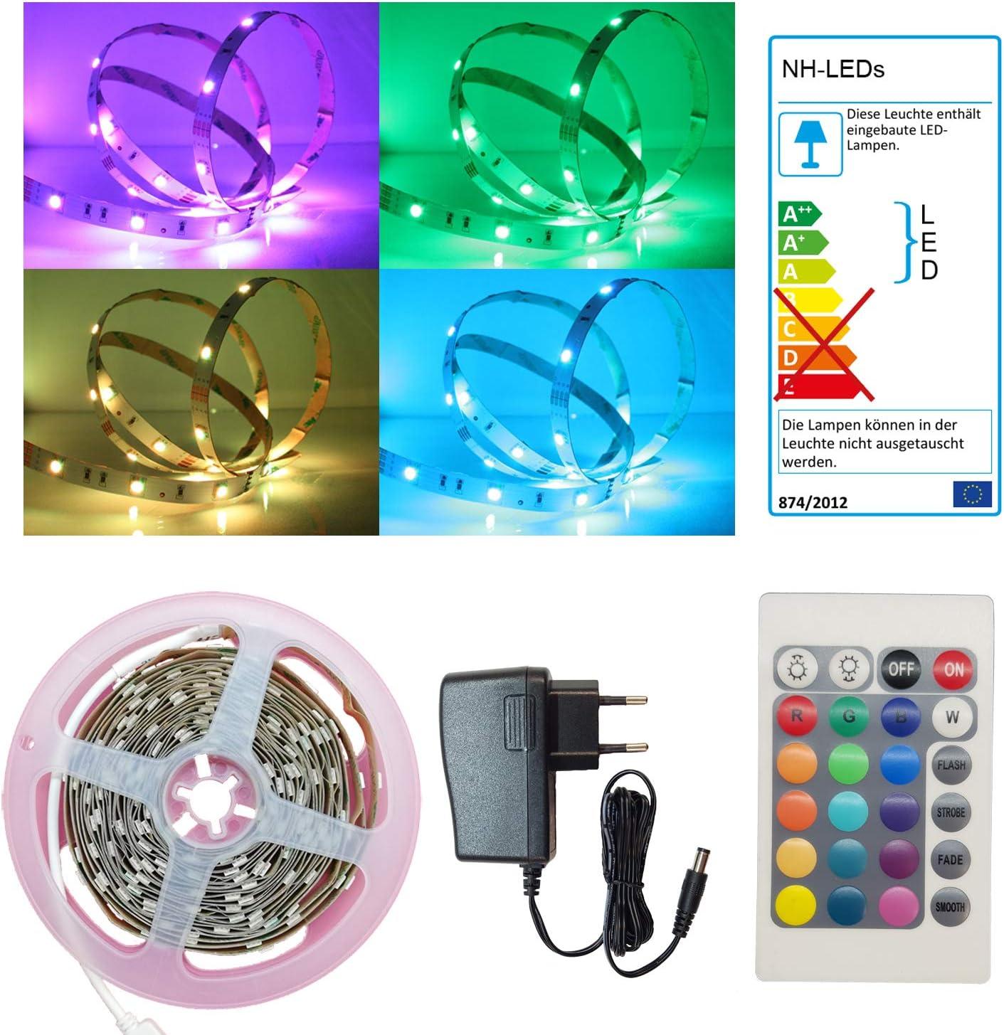 60 SMD LEDs mit Steckverbindern 12V Lichtband Stripe RGB Streifen 2m 7,35€//m