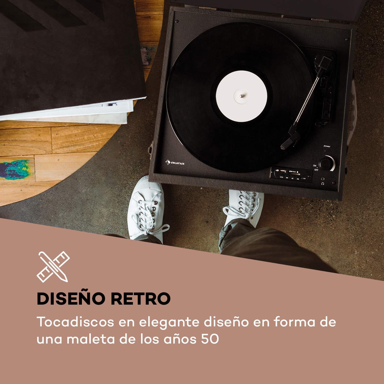 auna Sarah ANN - Tocadiscos con Altavoces Integrados, Tocadiscos Retro para Discos de Vinilo, Bluetooth, Conector de Auriculares, USB, 33, 45 y 78 ...