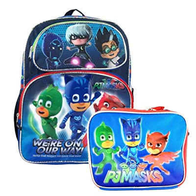 """good PJ Masks School Backpack 16"""" Boys & Lunch Bag 2pc set Boy Bags we are on the way"""