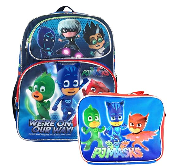 "PJ Masks School Backpack 16"" Boys & Lunch Bag 2pc set Boy Bags we are"