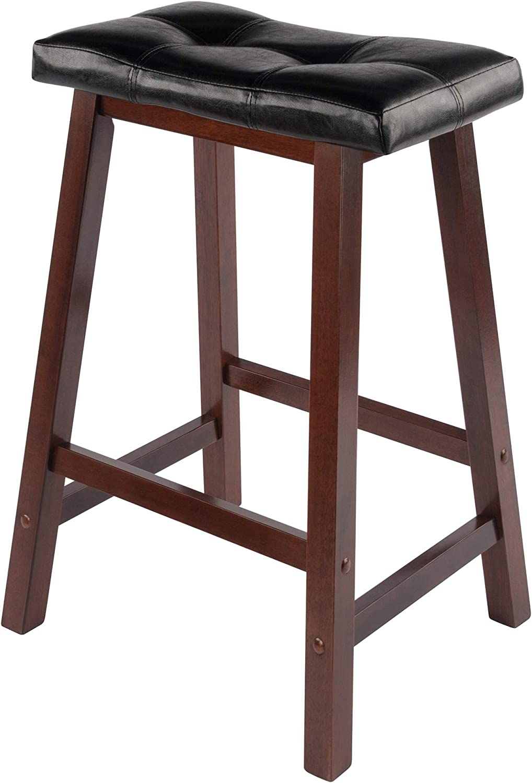 Winsome Wood Mona 24 Inch Cushion Saddle Seat Stool Black Faux Leather Wood Legs Rta Amazon Ca Home Kitchen