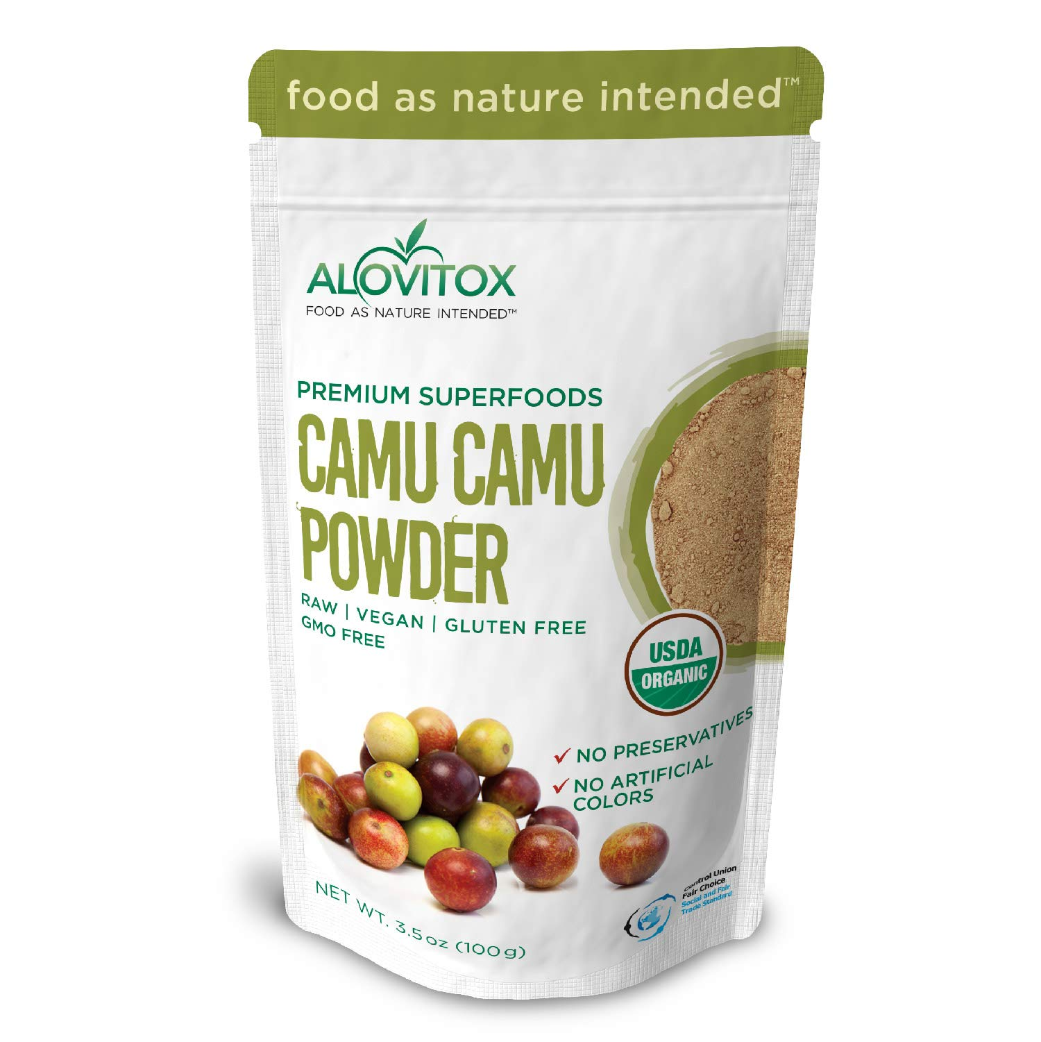 Organic Camu Camu Berry Powder | Naturally Energizing Immune Boosting Vitamin C, Antioxidants, and Proteins | Raw, Pure, Gluten Free, Vegan, Non GMO Peruvian Camu Camu Powder by Alovitox | 3.5 oz Bag