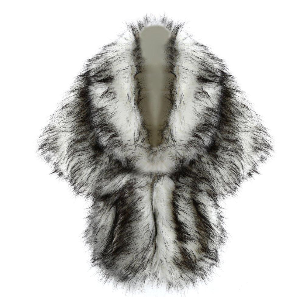 FUNOC Women Bride Faux Fur Wedding Party Show Shawl Wrap Stole Cape Shrug White Wolf