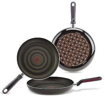 Tefal Comfort Grip - Juego de 3 Sartenes Aluminio 20, 24 y 28 cm, Exterior Negro Esmaltado, Antiadherente Extra de Titanio, para Todo Tipo de Cocinas, ...