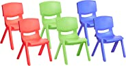 Amazonbasics 10 Inch School Classroom Stack Resin Chair, Assorted Color, 6-Pack