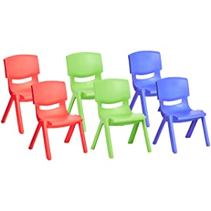 "Amazonbasics 10"" School Stack Resin Chair,Assorted Color, 6 Pack"