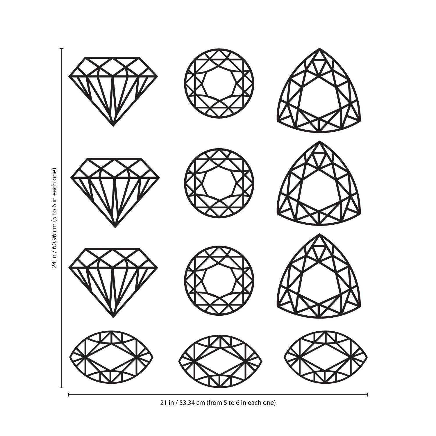 Jewels Set of 12 Vinyl Wall Art Decals from 5 x 6 Each, White Girly Toddler Teens Womens Indoor Outdoor Decor Modern Home Bedroom Living Room Apartment Nursery Playroom from 5 x 6 Each
