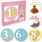 32 Pack Baby Monthly Milestone Stickers for Boys & Girls First Year (Free Headband Included) – Best Baby Shower Registry Gift or Scrapbook Photo Keepsake