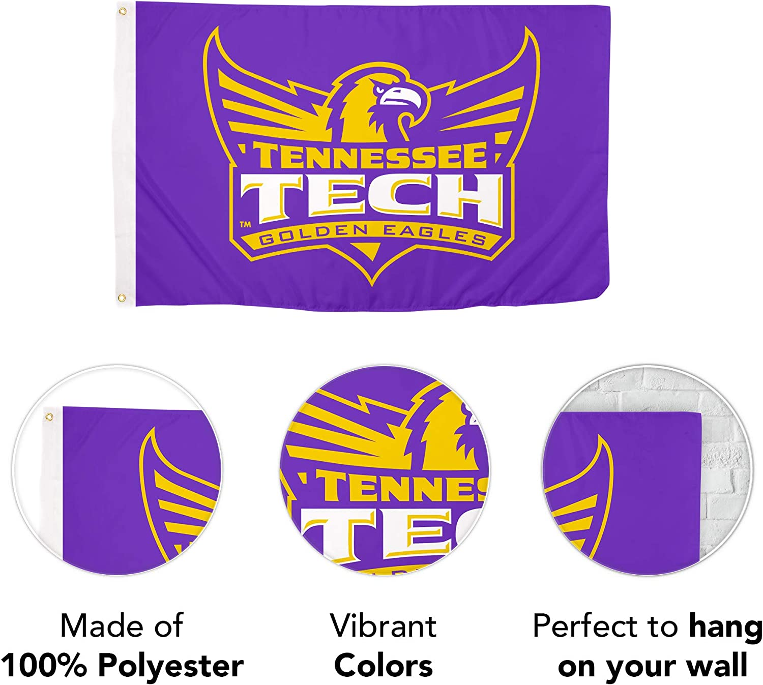 Desert Cactus Tennessee Technological University NCAA 100/% Polyester Indoor Outdoor 3 feet x 5 feet Flag