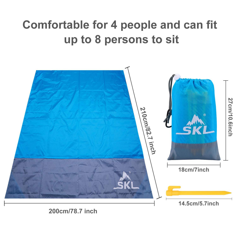 Blau, 150x140cm SKL Stranddecke Picknickdecke Tasche Picknick-Matte f/ür Outdoor-Reisen Camping Wandern