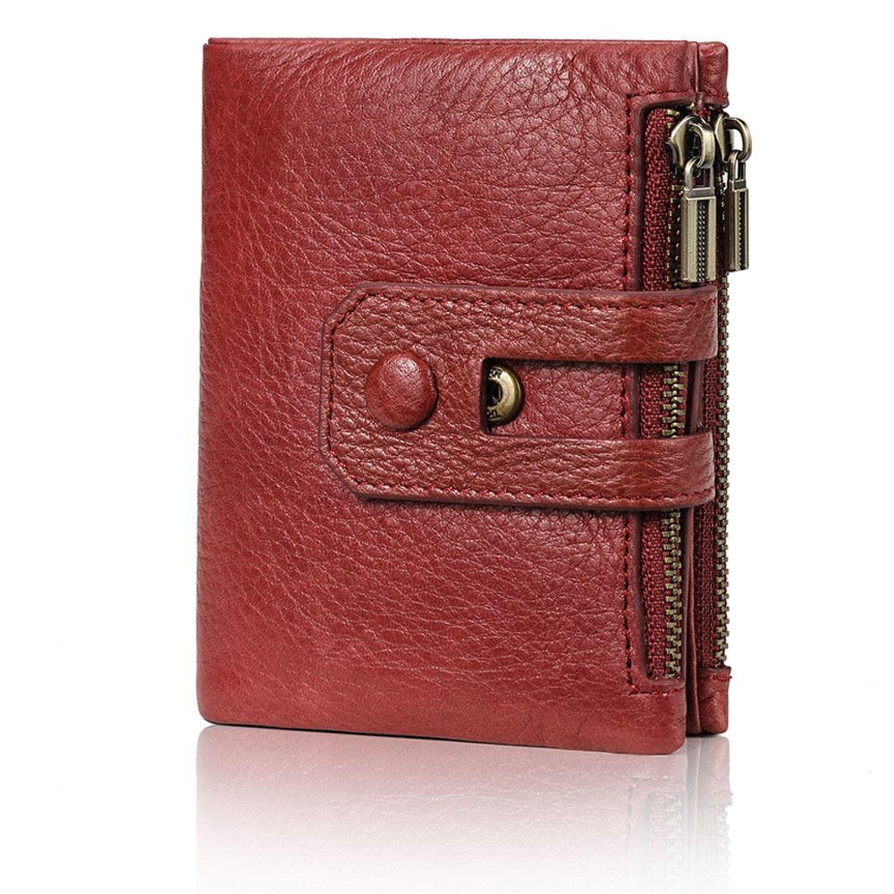 Fezhiomu Original Classic RFID Women's Bifold Genuine Leather Wallet and Purse Credit Card Holder Case with Gift Box red