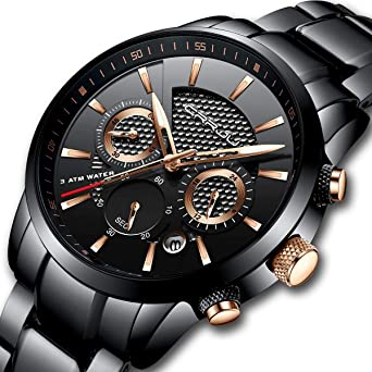 ea0f2ade8bc CRRJU Mens Stainless Steel Watches Date Casual Wrist Watch with Black Dial