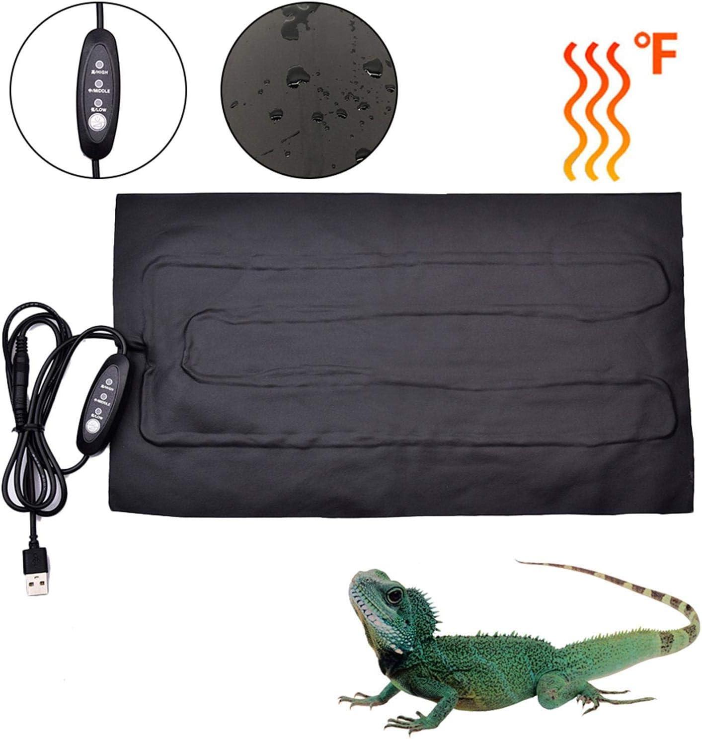 for Turtle Lizard Tortoise Gecko Terrarium Warmer Mat Pad with Temperature Control Reptile Heating Mat 8.5W 35X20cm Waterproof Safety Adjustable Vivarium Pet Tank Snakes