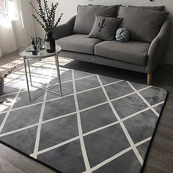 #Wohnzimmer Teppich Teppich   Schwarz Grau Plaid Sofa Teppich, 5x7 Solid  Und Dicke Antirust